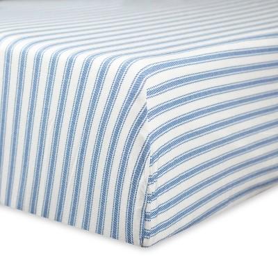 Honest Baby Organic Cotton Fitted Crib Sheet - Blue Ticking Stripe