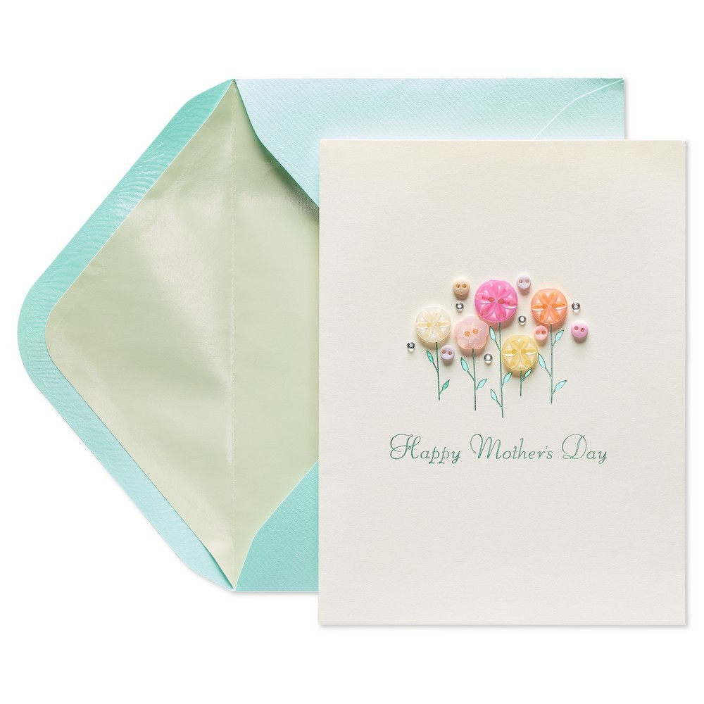 Papyrus Flower Button Mother's Day Greeting Card, Multi-Colored