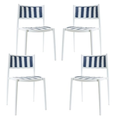 Set of 4 Jeremiah Indoor / Outdoor Dining Chair Gray - Poly & Bark