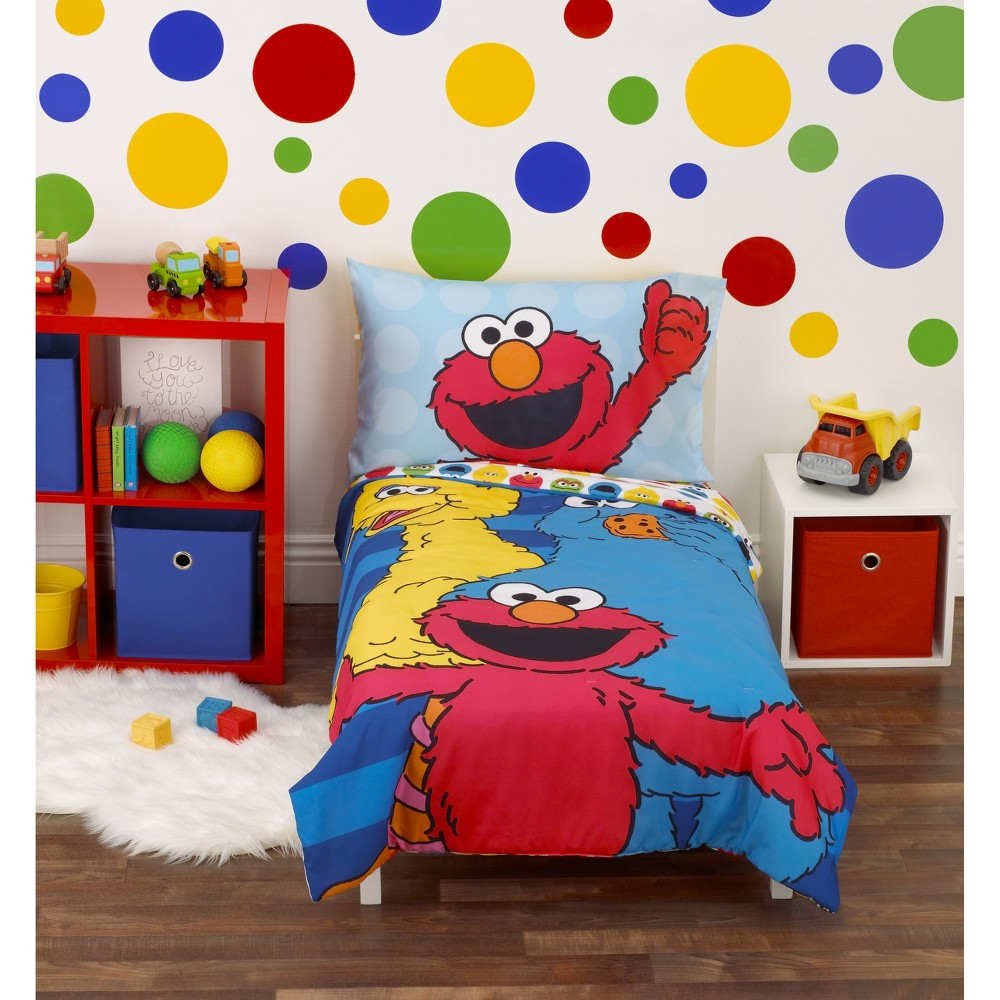 Image of Sesame Street 4pc Toddler Bedding Set Blue
