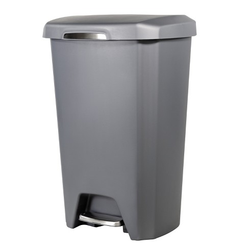 Hefty 12.2 Gallon Step Trash Can - Gray With Stainless Steel Accents