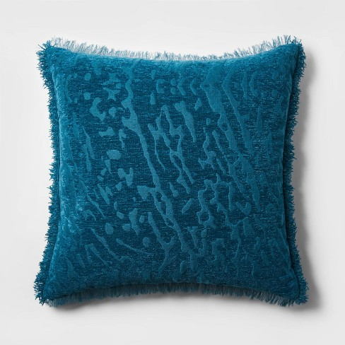 Euro Alligator Chenille Fringe Throw Pillow Teal - Opalhouse™ - image 1 of 4