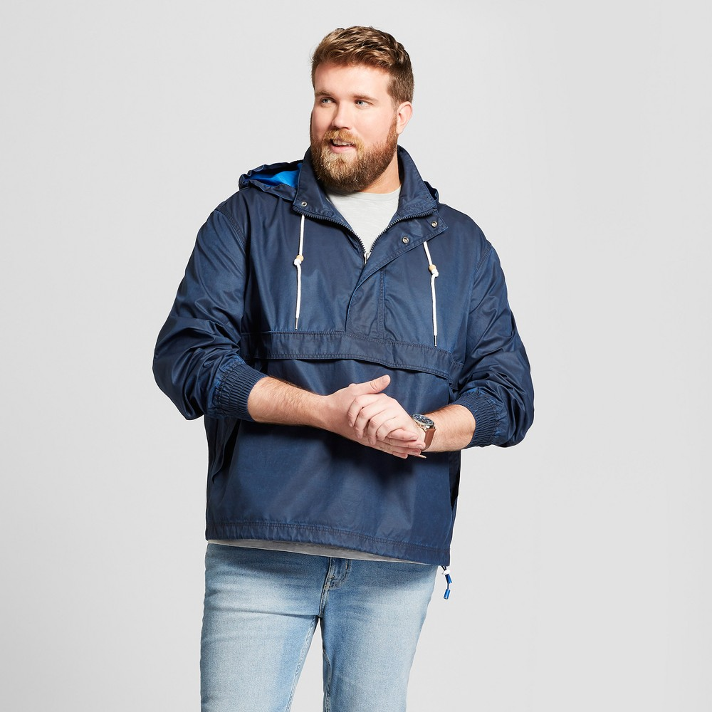 Men's Big & Tall Popover Windbreaker Jacket - Goodfellow & Co Washed Navy 4XB-Tall, Size: 4XBT, Blue
