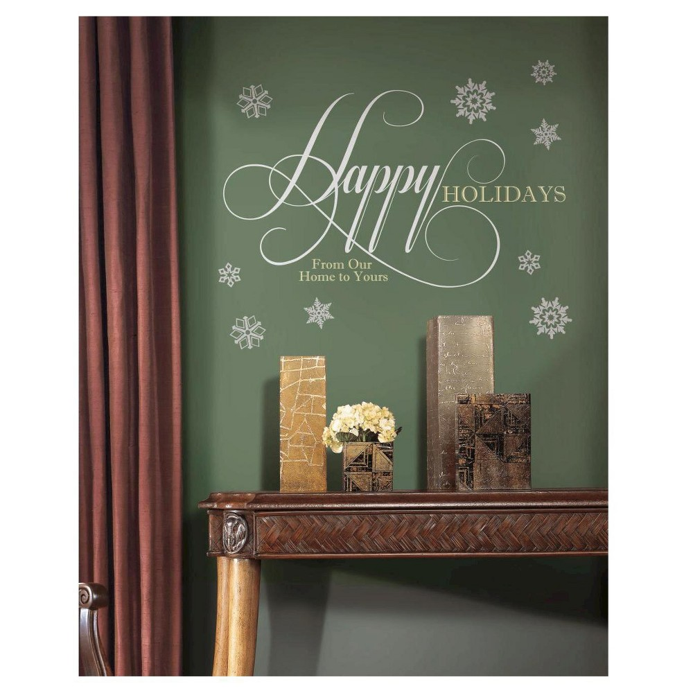 RoomMates Happy Holidays Quote Peel and Stick Giant Wall Decals w/Glitter, Multi-Colored