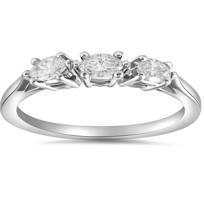 Pompeii3 1/3ct Marquise Diamond Wedding Ring Womens Stackable Band 14k White Gold