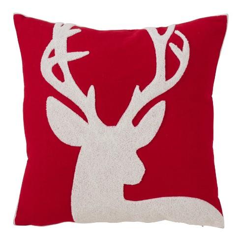 Reindeer Pattern Square Throw Pillow Red - Saro Lifestyle - image 1 of 2