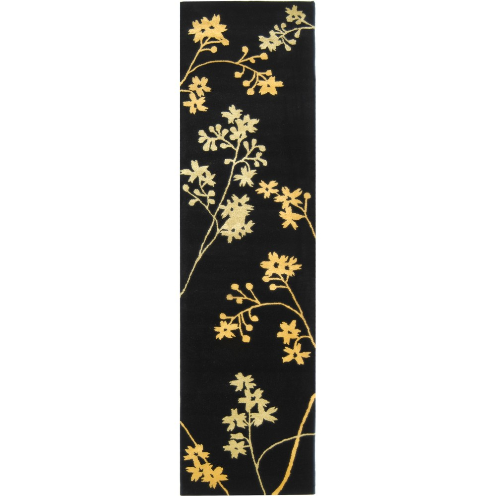 2'6X12' Floral Tufted Runner Black/Lime (Black/Green) - Safavieh
