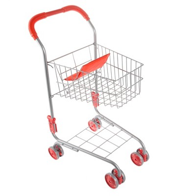 Toy Time Kids' Pretend Play Shopping Cart - Light Gray/Red