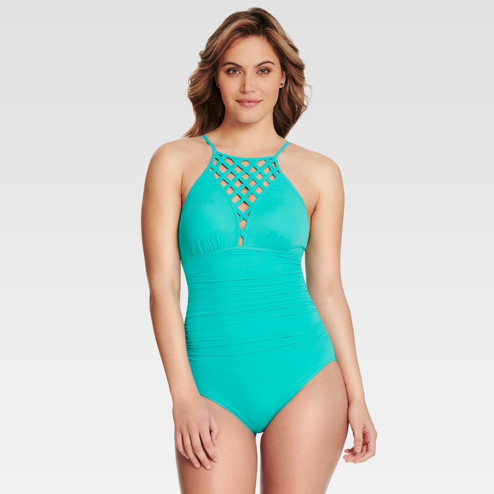 Dreamsuit by Miracle Brands Women's Slimming Control High Neck One Piece Swimsuit - Turquoise 10, Blue