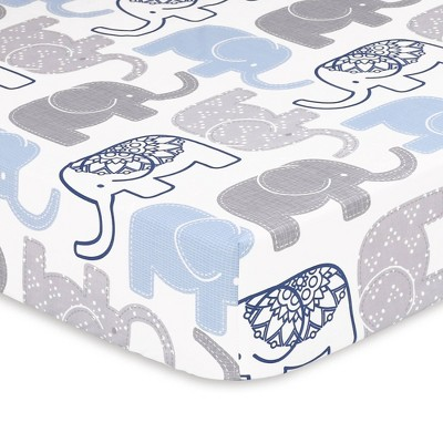 The Peanutshell Little Peanut Navy Elephant Fitted Crib Sheet