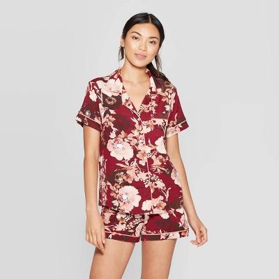 Women's Floral Print Beautifully Soft Notch Collar Pajama Set   Stars Above™ Burgundy by Stars Above