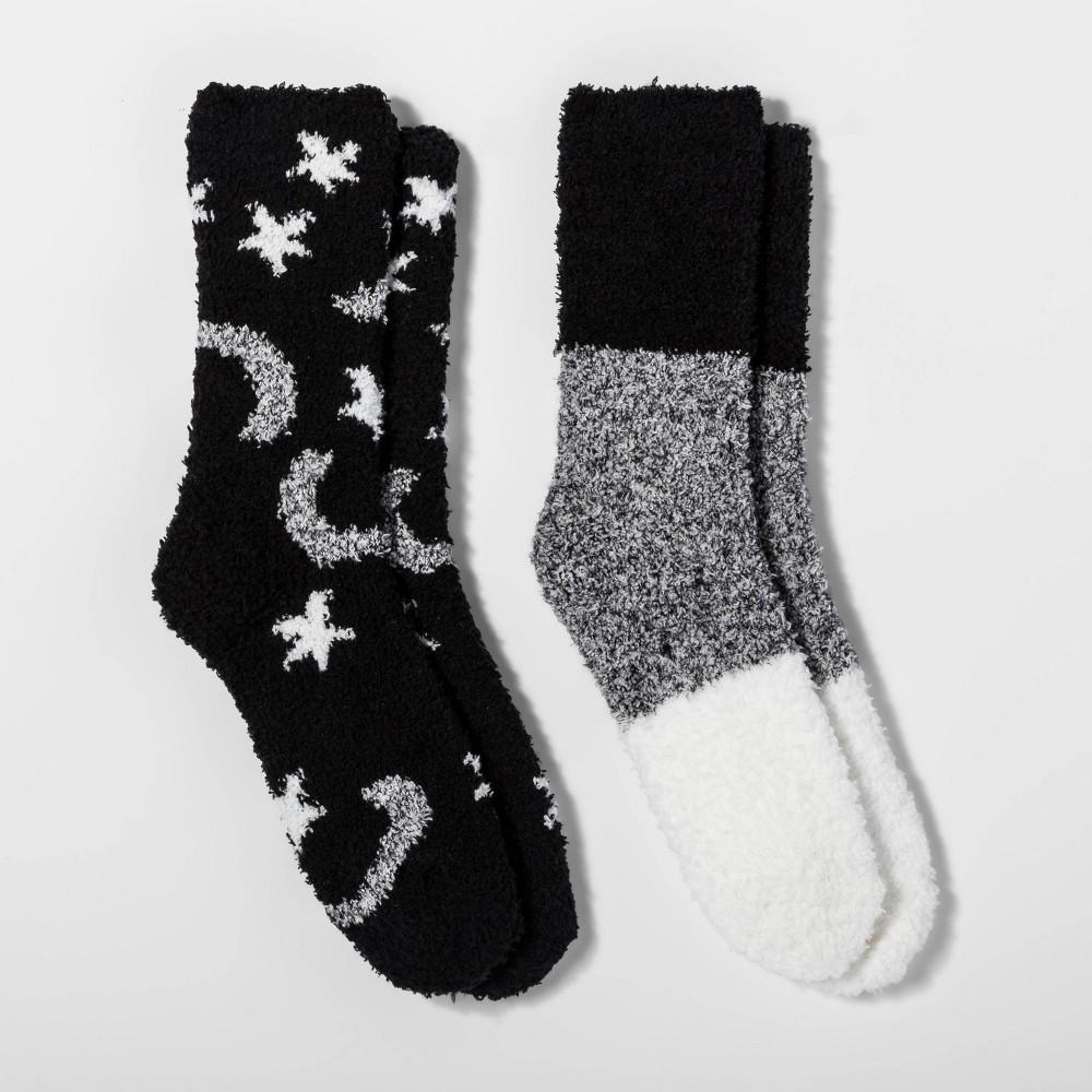 Image of Women's Star and Moon 2pk Cozy Crew Socks - Black One Size, Women's