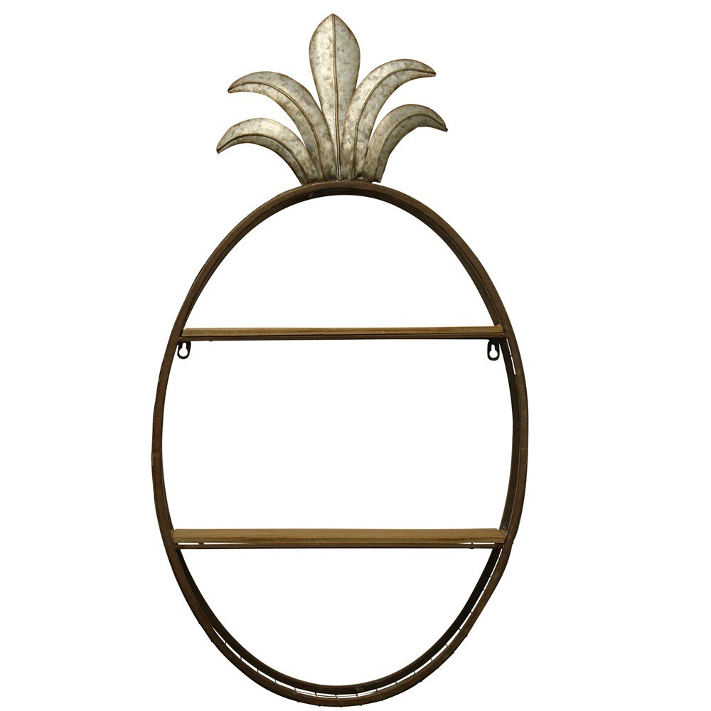 18.1 Alternative Coastal Functional Wall Hanging Metal Shelf Decorative Wall Art Brown - StyleCraft