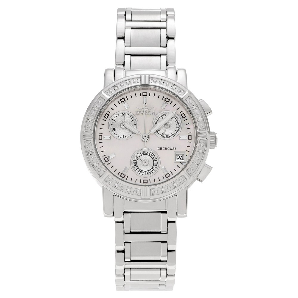 Women's Invicta 4718 Wildflower 1/10 CT. Tdw Diamond Accent Mother of Pearl Dial Link Watch - Silver