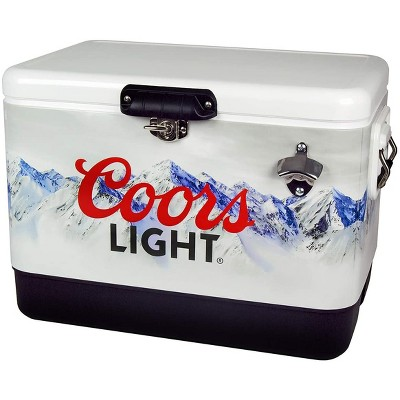 Koolatron Large 54 Quart 85 Can Capacity Portable Retro Coors Light Ice Chest Stainless Steel Hard Cooler with Built In Bottle Opener, White