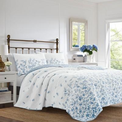 Laura Ashley Flora Quilt Set Blue
