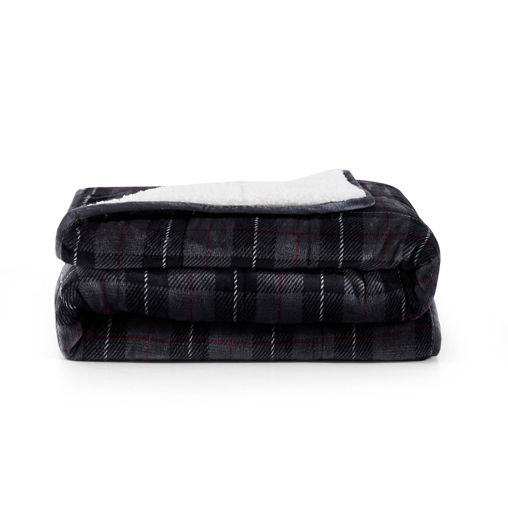Image of Printed Shiny Velvet Reversible to Sherpa Weighted Throws Plaid Gray - Rejuve