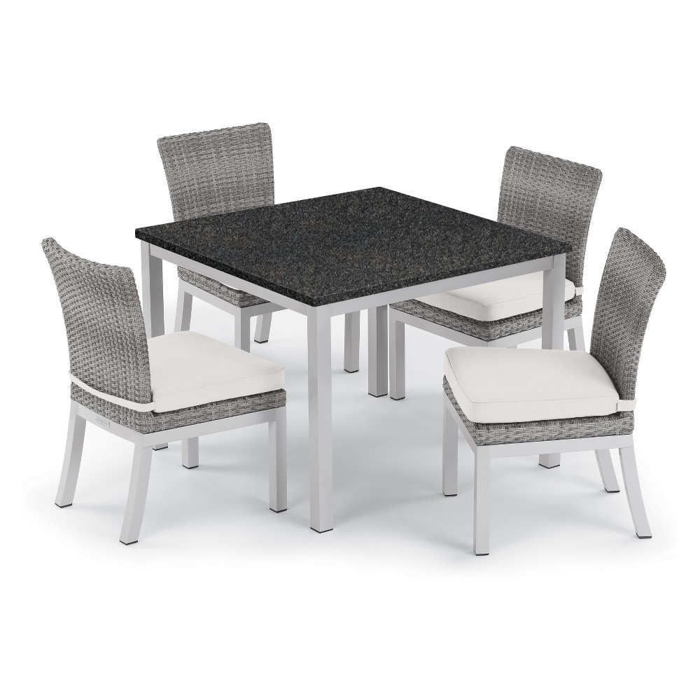 "Image of ""5pc Travira 39"""" Charcoal Dining Table & Argento Side Chair Set Eggshell White Cushions - Oxford Garden, Beige"""