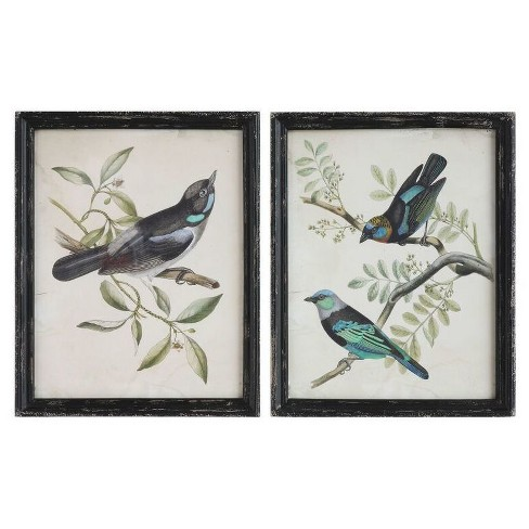 Wood Framed Bird Wall Art Black 2pk 3r Studios