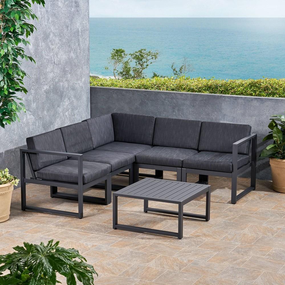 Navan 6pc Aluminum V-Shaped Sofa Set - Dark Grey - Christopher Knight Home, Dark Gray