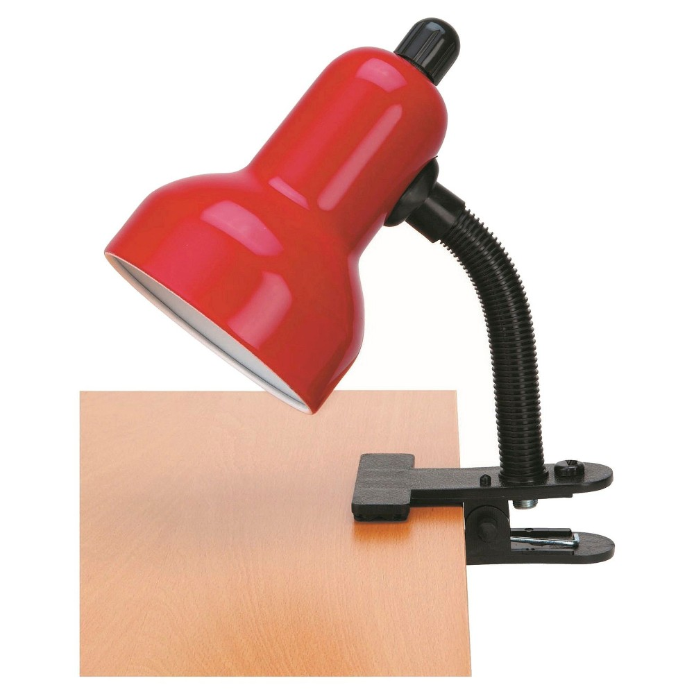 Lite Source Clip-On 1 Light Table Lamp with Red Shade (Lamp Only) - Black, Black/Red