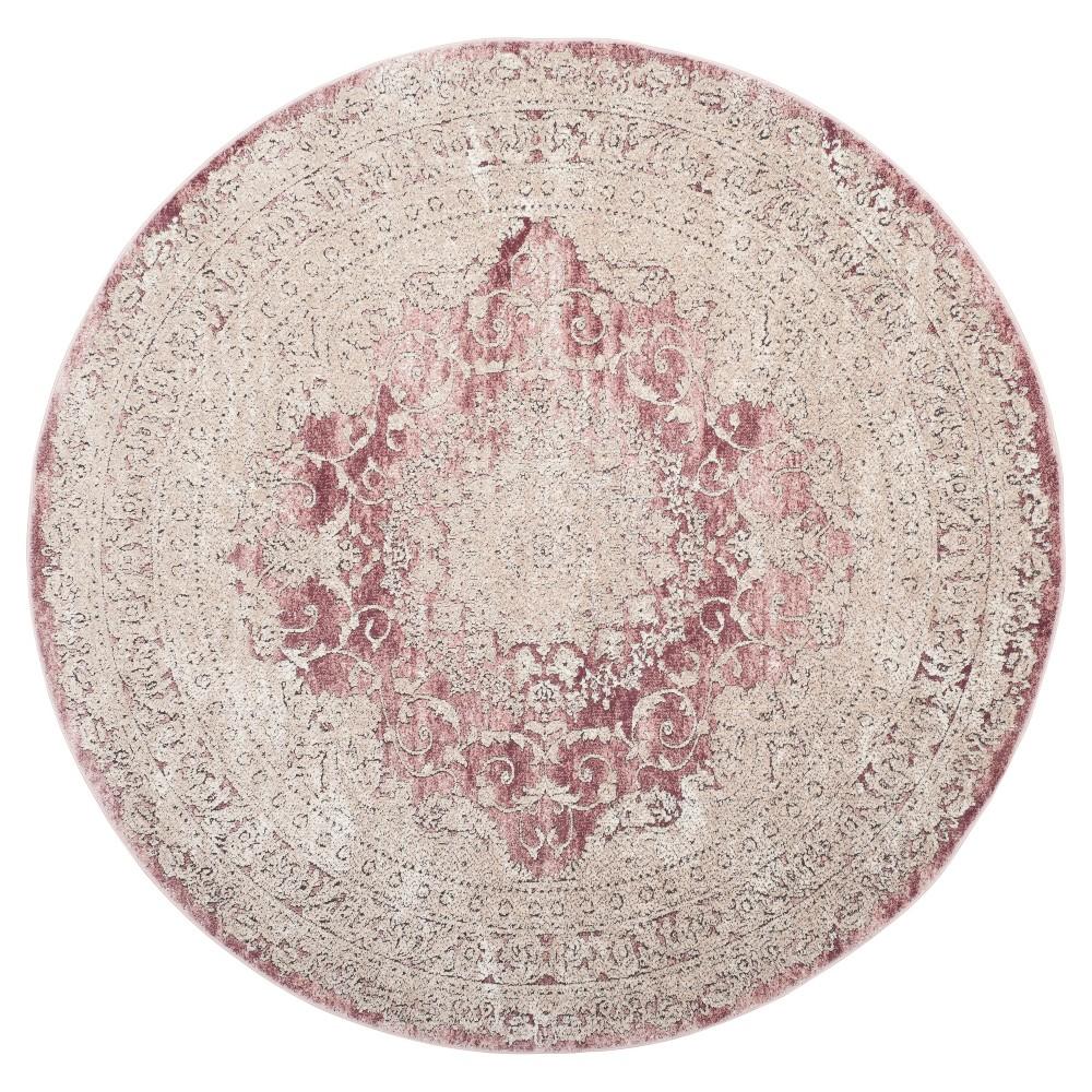 Rose (Pink) Floral Loomed Round Area Rug 6'7 - Safavieh