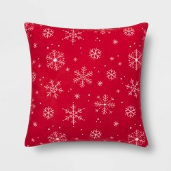 Printed Snowflake Square Throw Pillow - Wondershop™