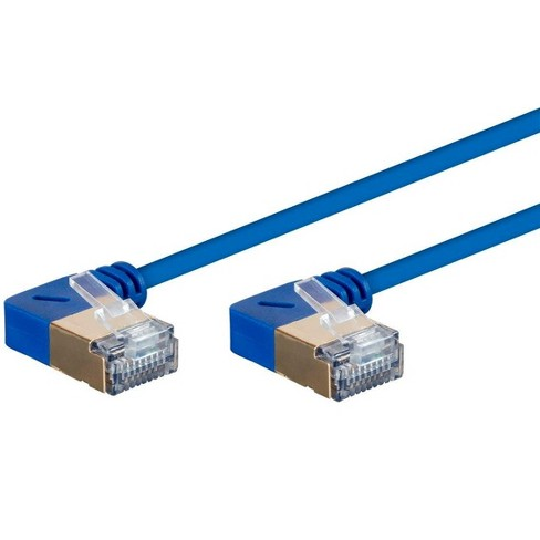 Monoprice SlimRun Cat6A Ethernet Network Cable/Cord - Blue - 10ft | 90 Degree Angled, 36AWG, S/STP - image 1 of 4