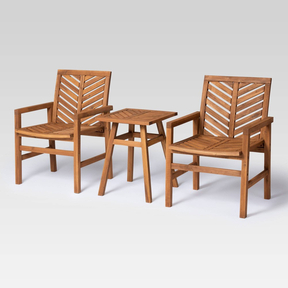 Image of 3pc Chevron Outdoor Patio Set Brown - Saracina Home