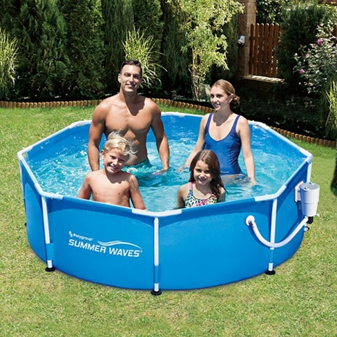 Summer Waves 8 Metal Frame Above Ground Family Swimming Pool Set W Filter Pump Target