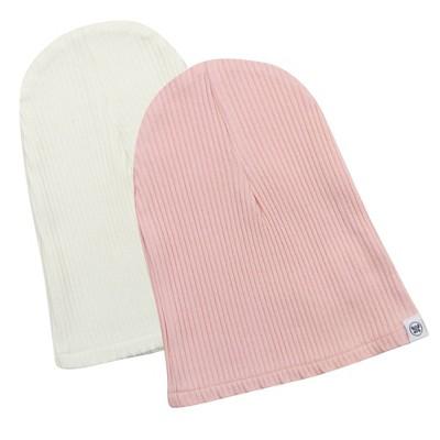 Honest Baby Girls' 2pk Organic Cotton Chunky Rib Beanie - Pink