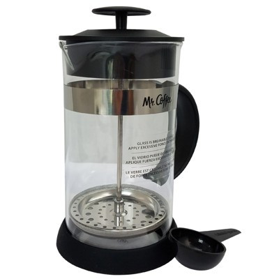 Mr. Coffee Cafe Oasis 32 Ounce Quart Glass Body French Press Coffee Maker