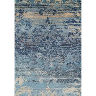 "7'10""X10'8"" Denim Blue Abstract Woven Area Rug - Addison Rugs"