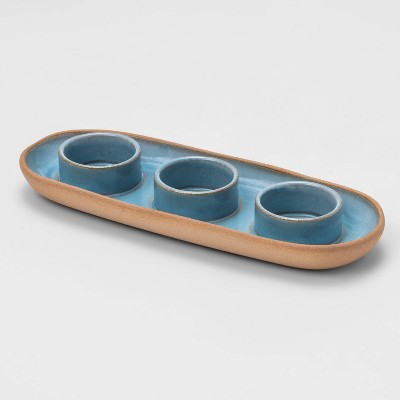 3 Space Tealight Tray Blue - Threshold™