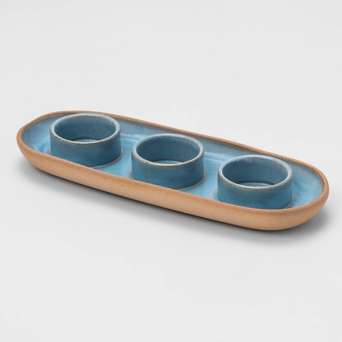 3 Space Tealight Tray Blue - Threshold™ - image 1 of 3