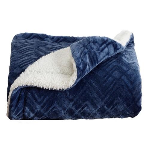 Home Fashion Designs Reversible Sherpa Velvet Plush King Blanket Navy Target