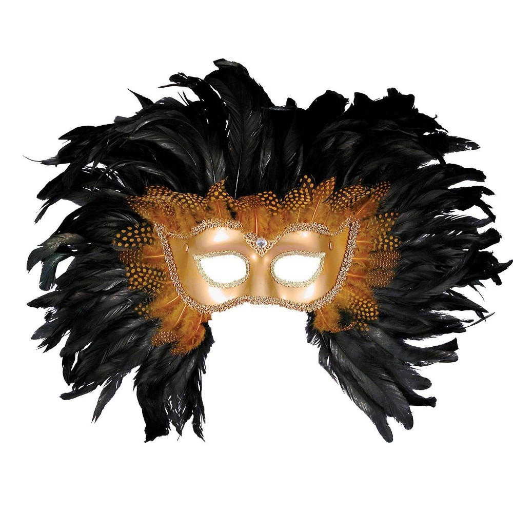 Image of Half Style Mask With Feathers