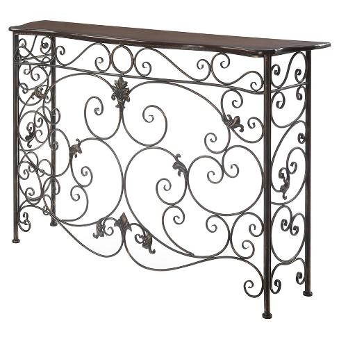 Wyoming Deluxe Metal and Wood Console - Oak Veneer / Antiqued Bronze - Convenience Concepts - image 1 of 3