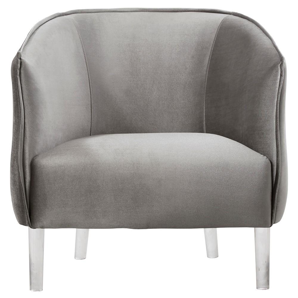 Marilyn Glam Velvet & Acylic Barrel Accent Chair - Silver - Inspire Q