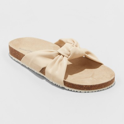 Women's Junie Knotted Footbed Sandals - Universal Thread™ Cream 8.5