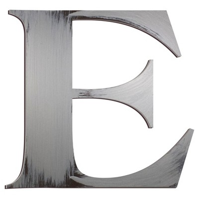 Letter2Word Hand Painted Letter E 3D Wall Sculpture -Nickel