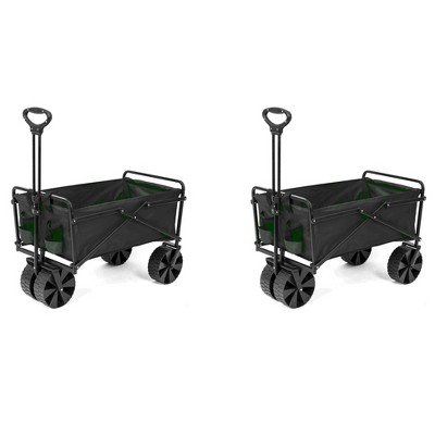 Seina Collapsible Steel Frame Folding Utility Beach Wagon Cart, Green (2 Pack)