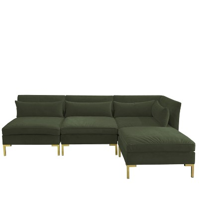 4pc Alexis Sectional with Brass Metal Y Legs Dark Green Velvet - Cloth & Co.