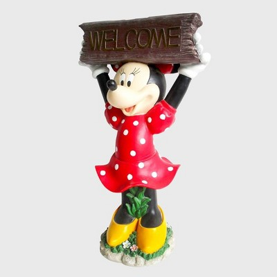 "Disney Minnie Mouse 22"" Solar Resin Statue With A Welcome Sign"