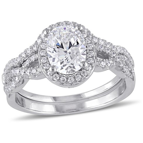 2 87 Ct T W Cubic Zirconia Bridal Set In Sterling Silver