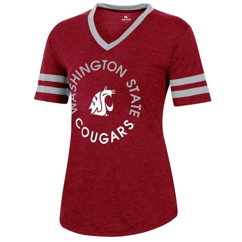 NCAA Washington State Cougars Women's Short Sleeve V-Neck Heathered T-Shirt - image 1 of 2