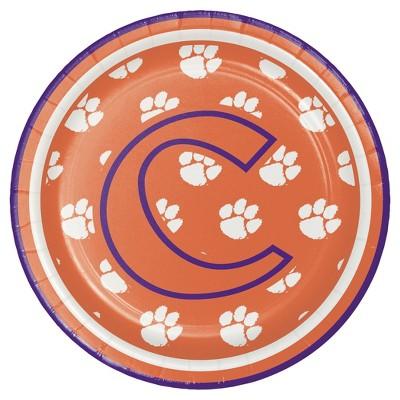 "8ct Clemson University 7"" Dessert Plates - NCAA"