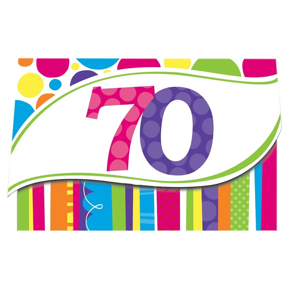 8ct Bright And Bold 70th Birthday Invitations