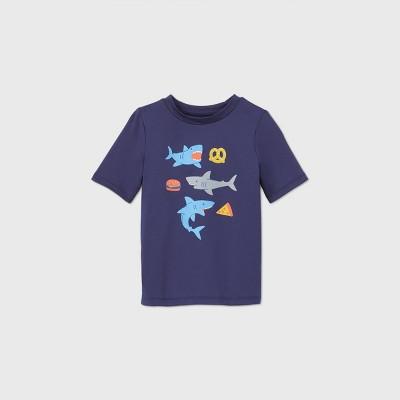 Toddler Boys' Shark Print Short Sleeve Rash Guard Swim Shirt - Cat & Jack™ Navy 2T