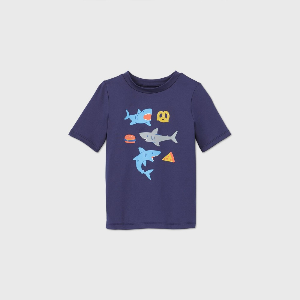 Toddler Boys 39 Shark Print Short Sleeve Rash Guard Swim Shirt Cat 38 Jack 8482 Navy 5t